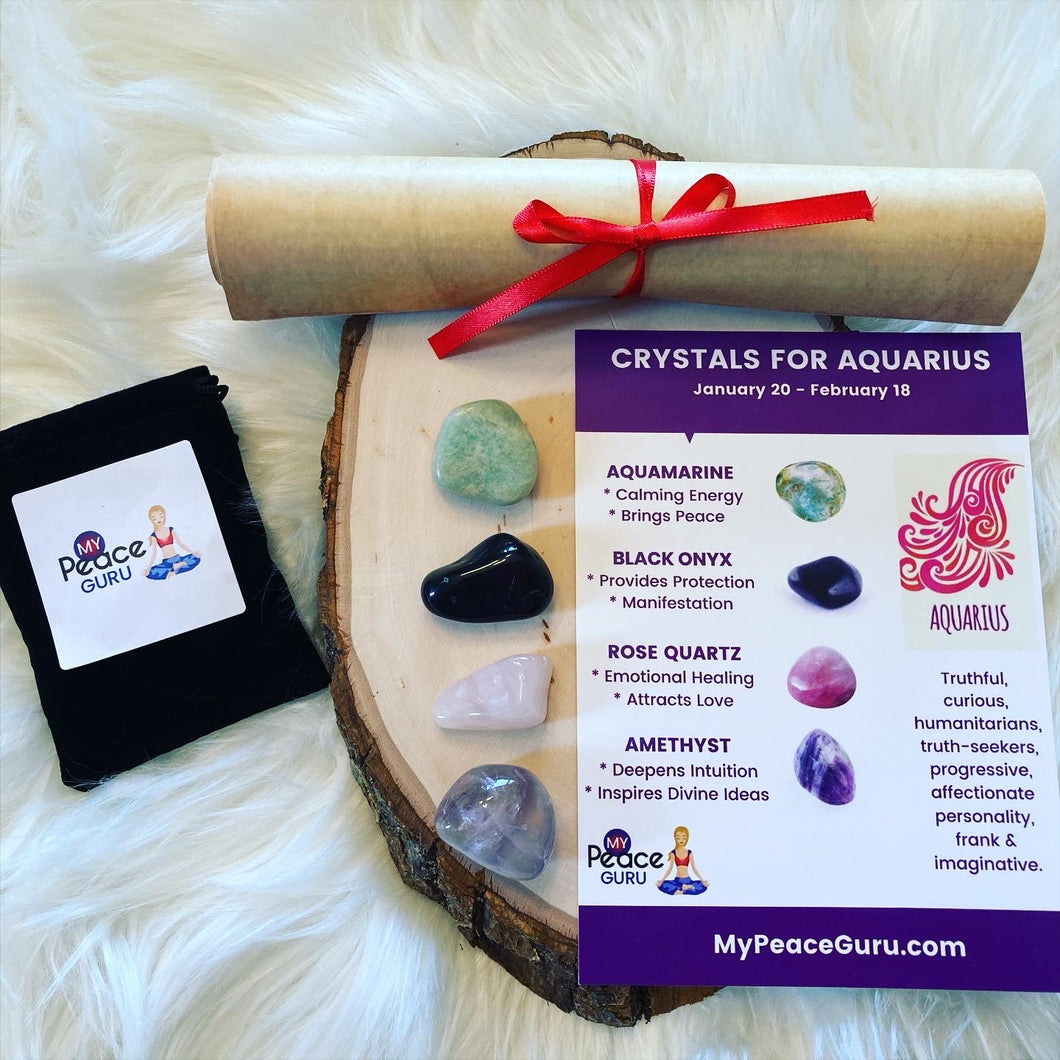 Aquarius Zodiac Sign Crystal Healing Stones Velvet Gift Pouch with Astrology Scroll Report