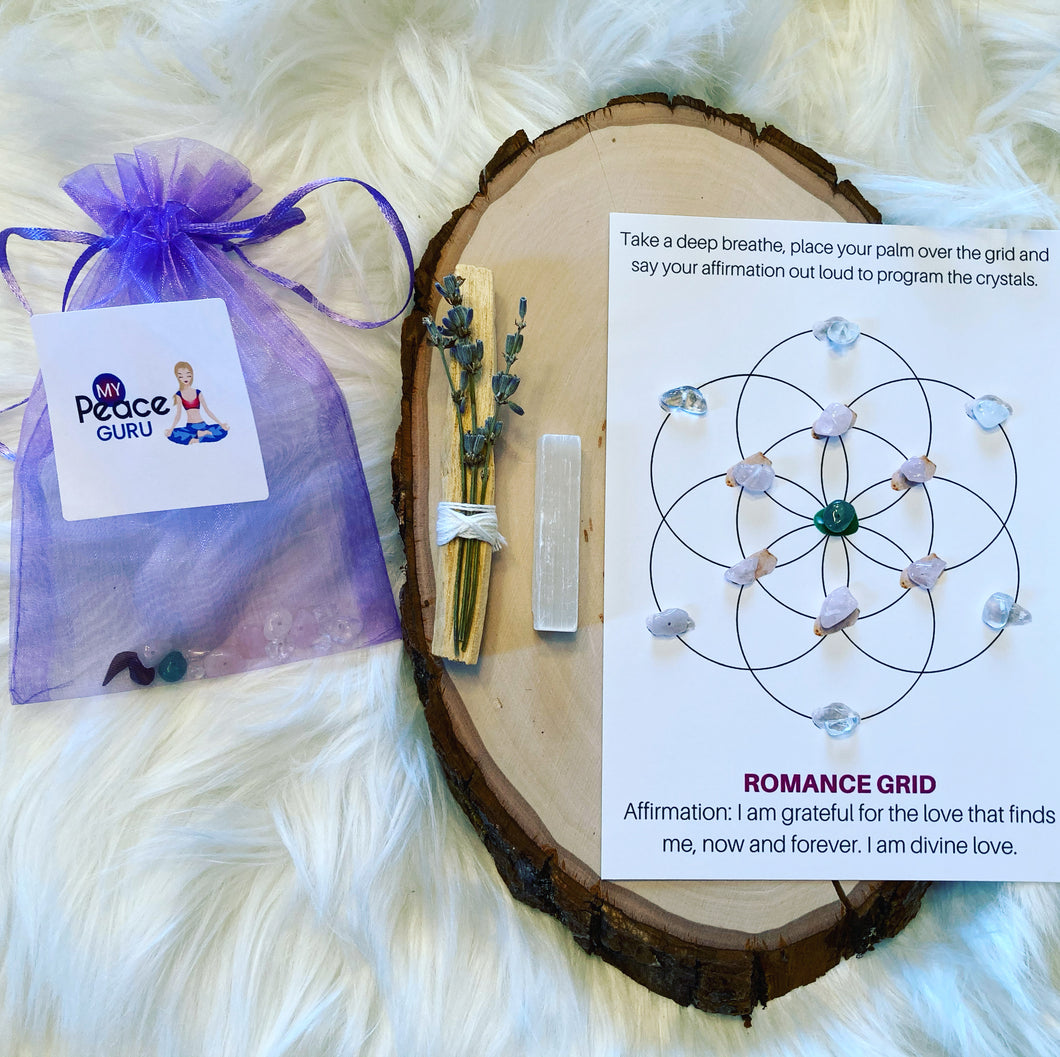 Attract Love Flower of Life Crystal Grid Law Of Attraction Gift Set