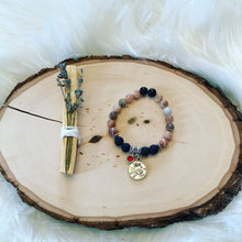 Load image into Gallery viewer, Leo Zodiac Sign Sunstone Bracelet with Lava Stones for Essential Oils, Palo Santo Stick & Lavender Bundle