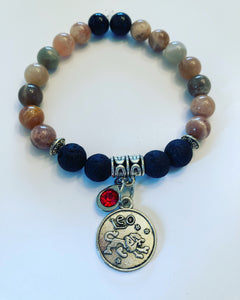 Leo Zodiac Sign Sunstone Bracelet with Lava Stones for Essential Oils, Palo Santo Stick & Lavender Bundle