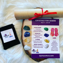 Load image into Gallery viewer, Gemini Zodiac Sign Crystal Healing Stones Velvet Gift Pouch with Astrology Scroll Report