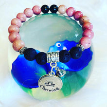 Load image into Gallery viewer, Libra Zodiac Sign Rhodocrosite Bracelet with Lava Stones for Essential Oils, Palo Santo Stick & Lavender Bundle