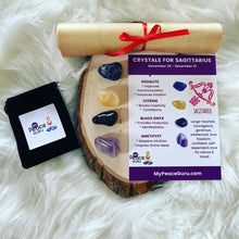 Load image into Gallery viewer, Sagittarius Zodiac Sign Crystal Healing Stones Velvet Gift Pouch with Astrology Scroll Report