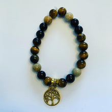 Load image into Gallery viewer, Tree of Life Tiger's Eye Bracelet with Lava Stones for Essential Oils, Palo Santo Stick & Lavender Bundle