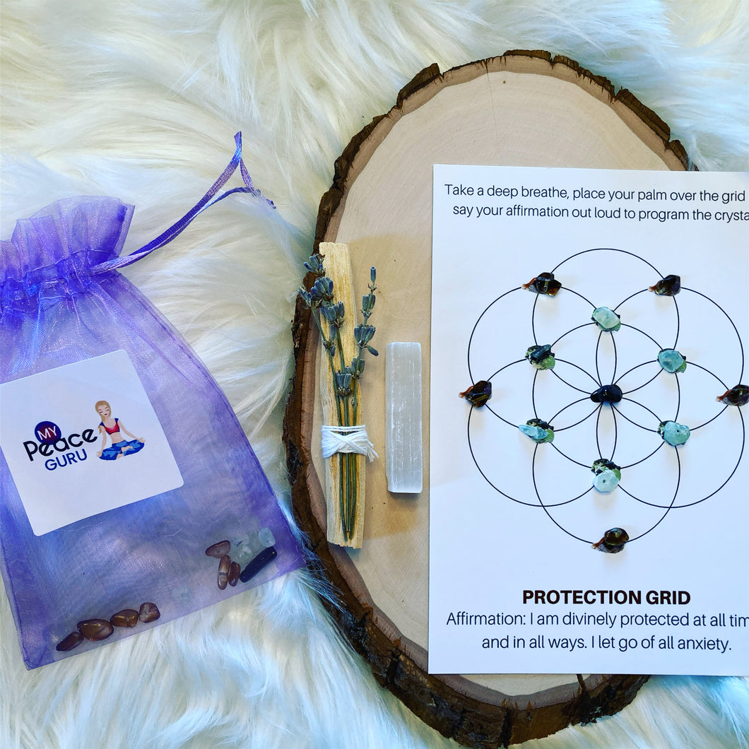 Attract Protection Flower of Life Crystal Grid Law Of Attraction Gift Set