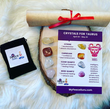 Load image into Gallery viewer, Taurus Zodiac Sign Crystal Healing Stones Velvet Gift Pouch with Astrology Scroll Report