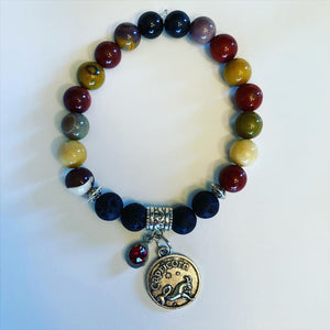 Capricorn Zodiac Sign Mookaite Jasper Bracelet with Lava Stones for Essential Oils, Palo Santo Stick & Lavender Bundle
