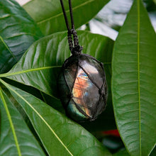 Load image into Gallery viewer, Labradorite Necklace Natural Stone Pendant Wrap Braid