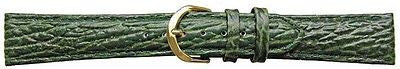 Shark Grain Green calf Leather Padded   watch strap 14 mm - G/P  Buckle -  Inflightgoods