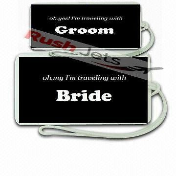 oh yes I'm with the Groom & oh my I'm with the Bride   Luggage  Tag -  Inflightgoods