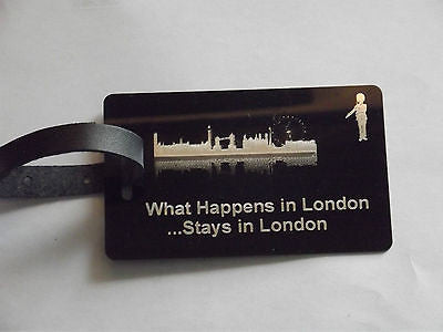 Novelty Luggage Crew Tags - WHAT HAPPENS IN LONDON STAYS .LONDON,NEW YORK,ECT -  Inflightgoods   - 6