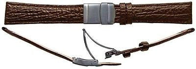 Shark Grain Leather with safty clasp  watch strap size 16mm with s/s clasp -  Inflightgoods