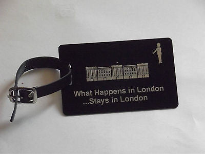 Novelty Luggage Crew Tags - WHAT HAPPENS IN LONDON STAYS .LONDON,NEW YORK,ECT -  Inflightgoods   - 2