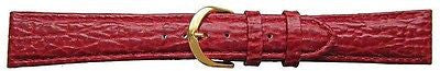 Shark  Grain  burgundy calf Leather Padded   watch strap  20 mm with G/P  Buckle -  Inflightgoods