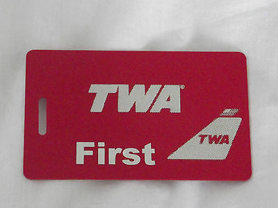 Novelty  TWA  luggage tags FIRST CLASS < CREW -  Inflightgoods   - 1