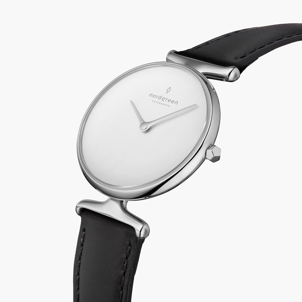 Unika | White Dial - Black Leather