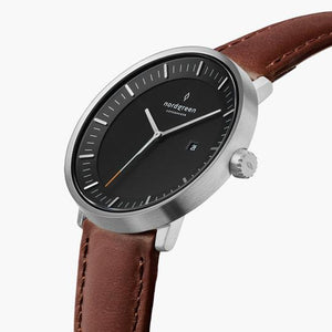 Philosopher - BUNDLE Black Dial Silver | 5-Link / Brown Leather Strap