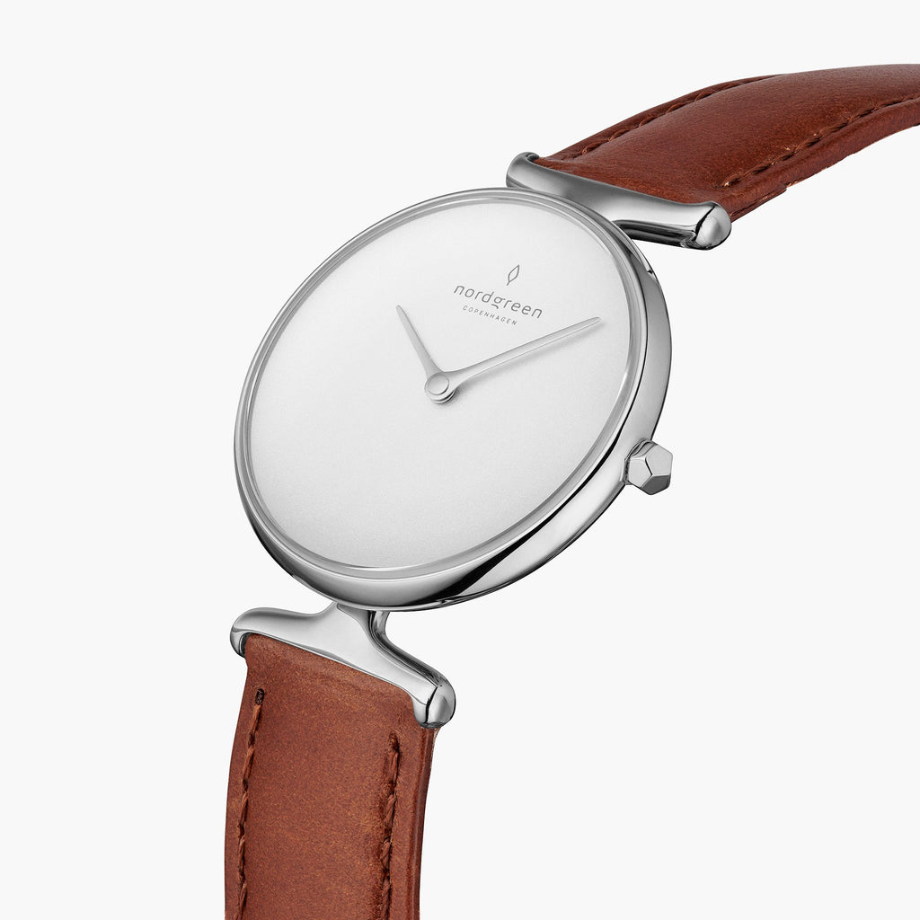 Unika | White Dial - Brown Leather