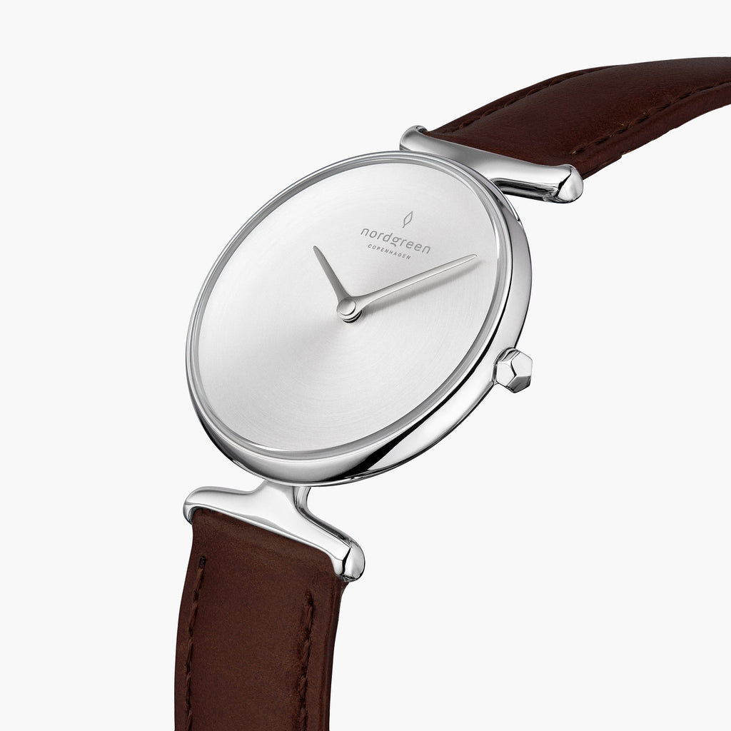 Unika | Brushed Metal Dial - Dark Brown Leather