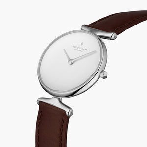 Unika | White Dial - Dark Brown Leather