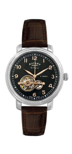 GS90500/19 Gents Rotary Stainless Steel Brown Leather