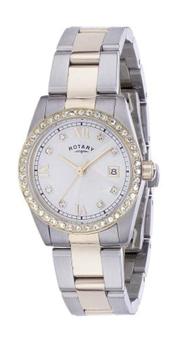 Rotary Lb02344 07 Ladies Two Tone Stone Set White Dial,Bracelet Watch