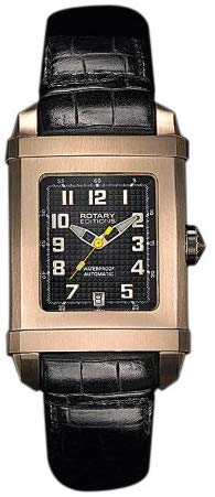 Rotary Unisex Automatic Watch with Black Dial Analogue Display and Brown Leather Strap 402B