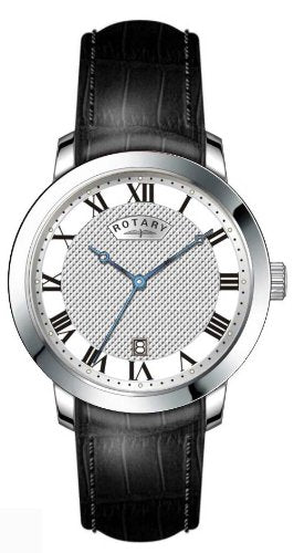 Rotary Men's Quartz Watch with Silver Dial Analogue Display and Black Leather Strap GS42825/01