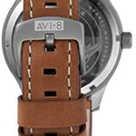 AVI-8 Men's AV-4053 Hawker Hurricane Altimeter Edition Stainless Steel Japanese-Quartz Aviator Watch with Leather Strap