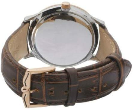Brown Leather Strap Rotary Men's Two Tone Case Wrest Watch