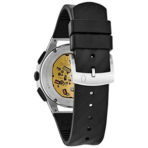 Men's Bulova Curv 98A161 Chronograph Black Rubber Strap Watch 2018