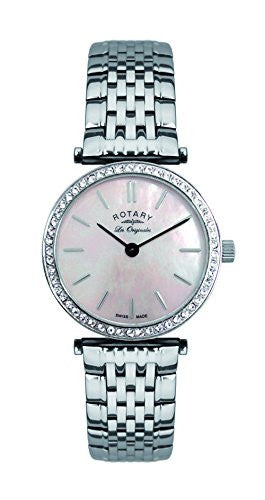 Rotary LB90003/07 Ladies Stainless Steel Bracelet Watch with Stone Set Case