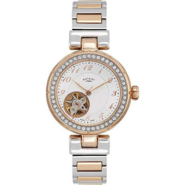 Rotary Watch Women's Two Tone Stainless Steel Skeleton Bracelet Watch LB90070/22
