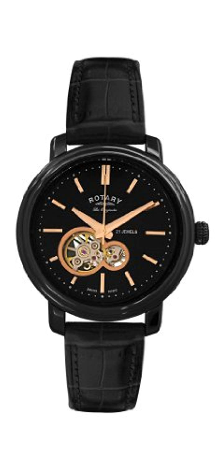 GS90502/04 Rotary Gents Black Stainless Steel Black Leather Strap Les Originales Jura Watch