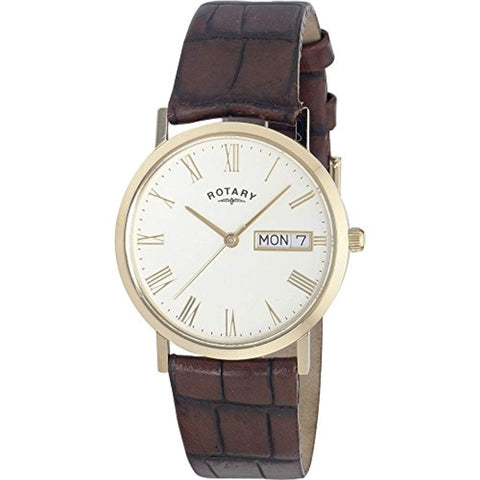 Gents Gold Plated Rotary Quartz/Battery Watch with Cream Coloured Dial on a Brown Leather Strap, with Day & Date. GS02324/32