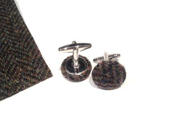 Hand Made cufflinks with Harris Tweed , James Bond Tweed Cufflinks,wedding cufflinks, groomsmen Personalised wedding - supplied in gift pouch jD06021