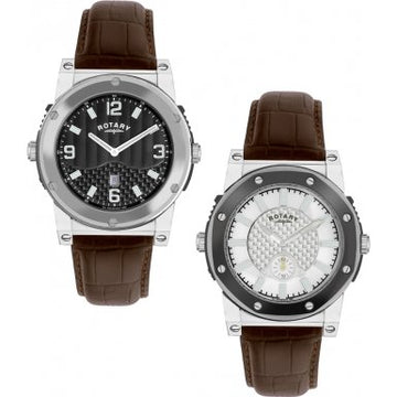 Rotary GS02950-19-06 Gents Silver Dial Leather Strap Watch