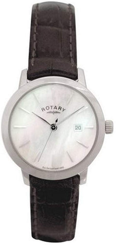 Rotary Ls02485 41 Ladies Stainless Steel Mother of Pearl Dial Black Leather Strap Watch