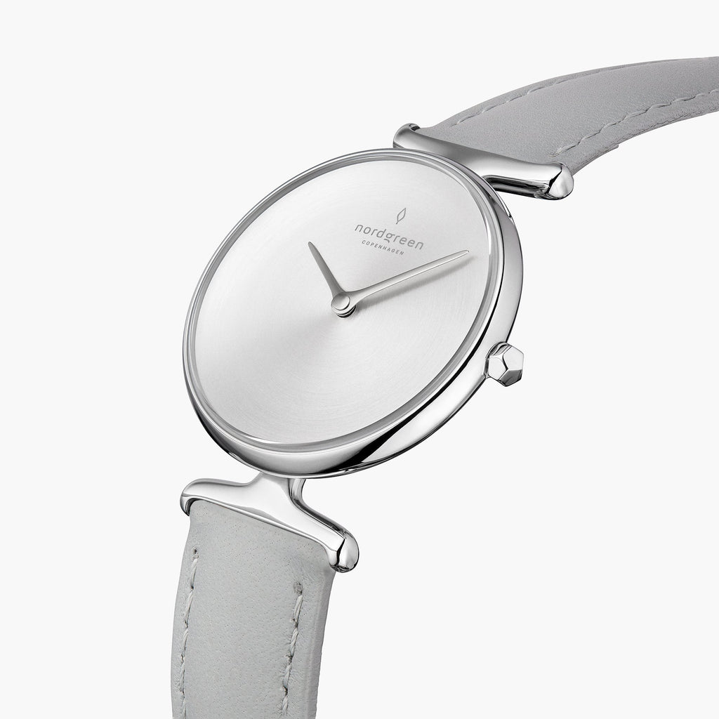 Unika | Brushed Metal Dial - Grey Leather