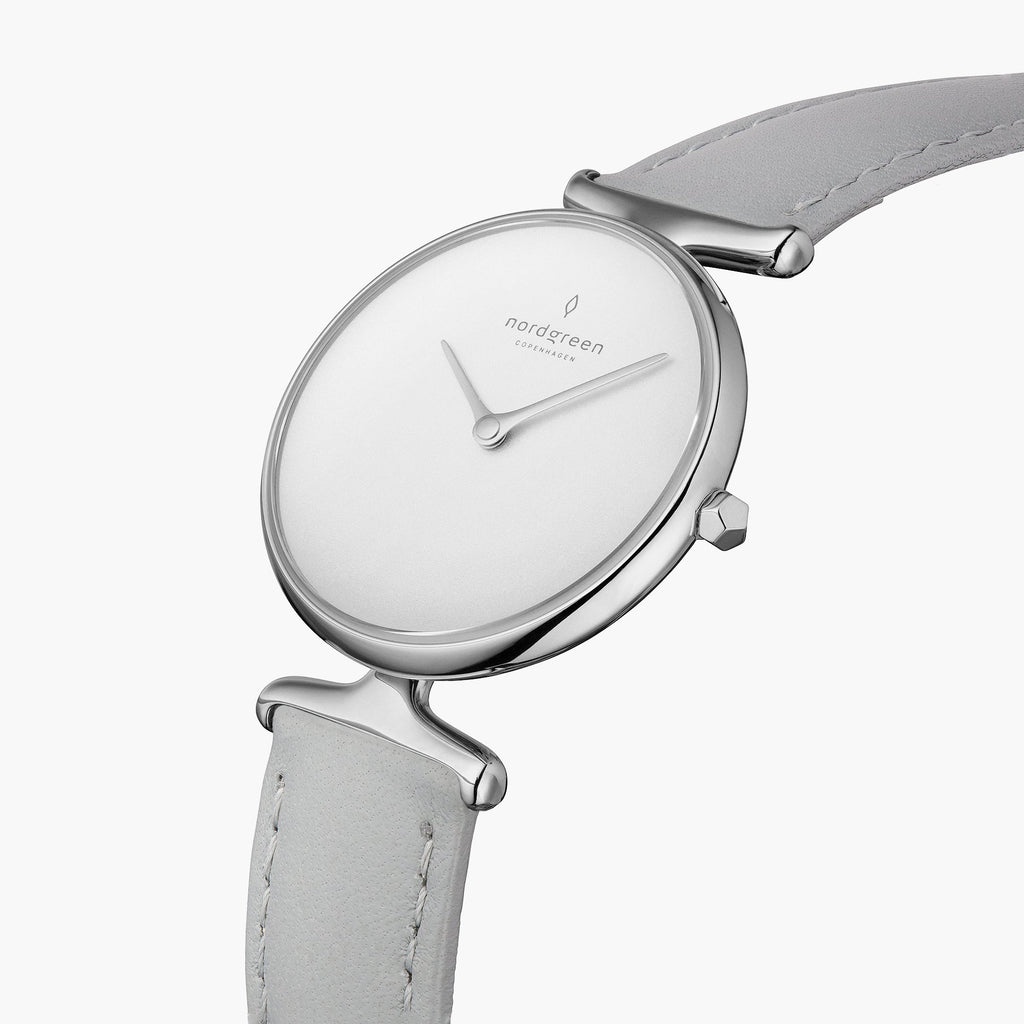 Unika | White Dial - Grey Leather