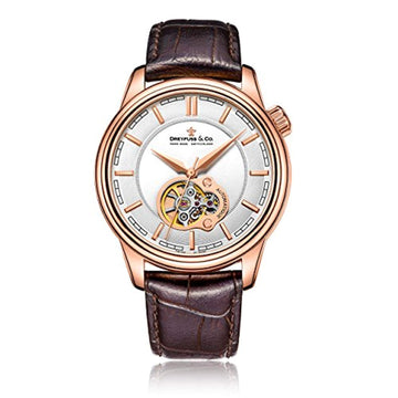 Dreyfuss & Co Mens Skeleton Automatic Watch with Leather Strap DGS00093/02