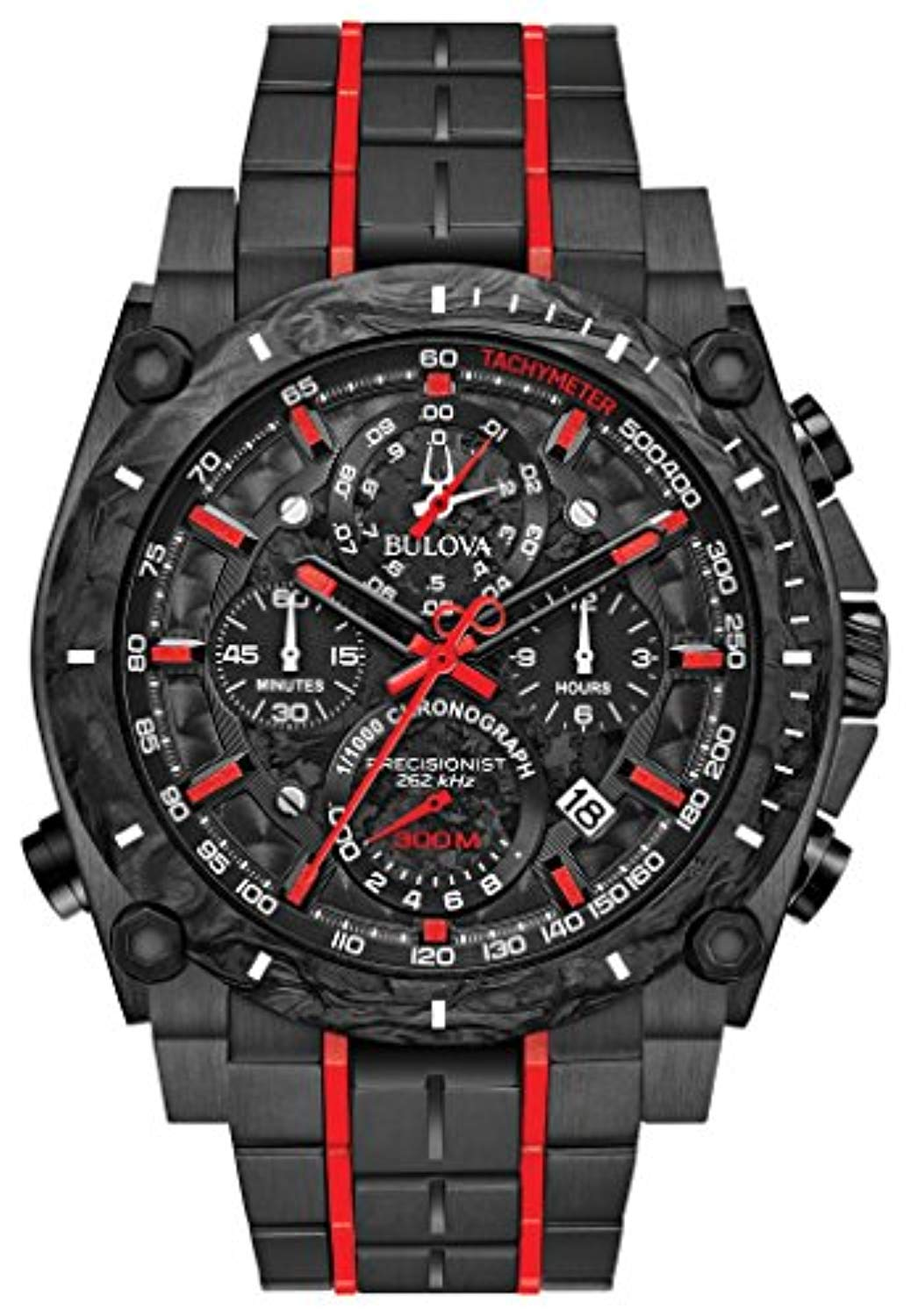 Bulova 98B313 Precisionist Men's Watch Black 46.5mm Black IP Stainless Steel and Forged Carbon case