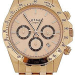 Rotary Gents Chronograph Date Rose Gold Tone Stainless Steel Watch GB00143/25