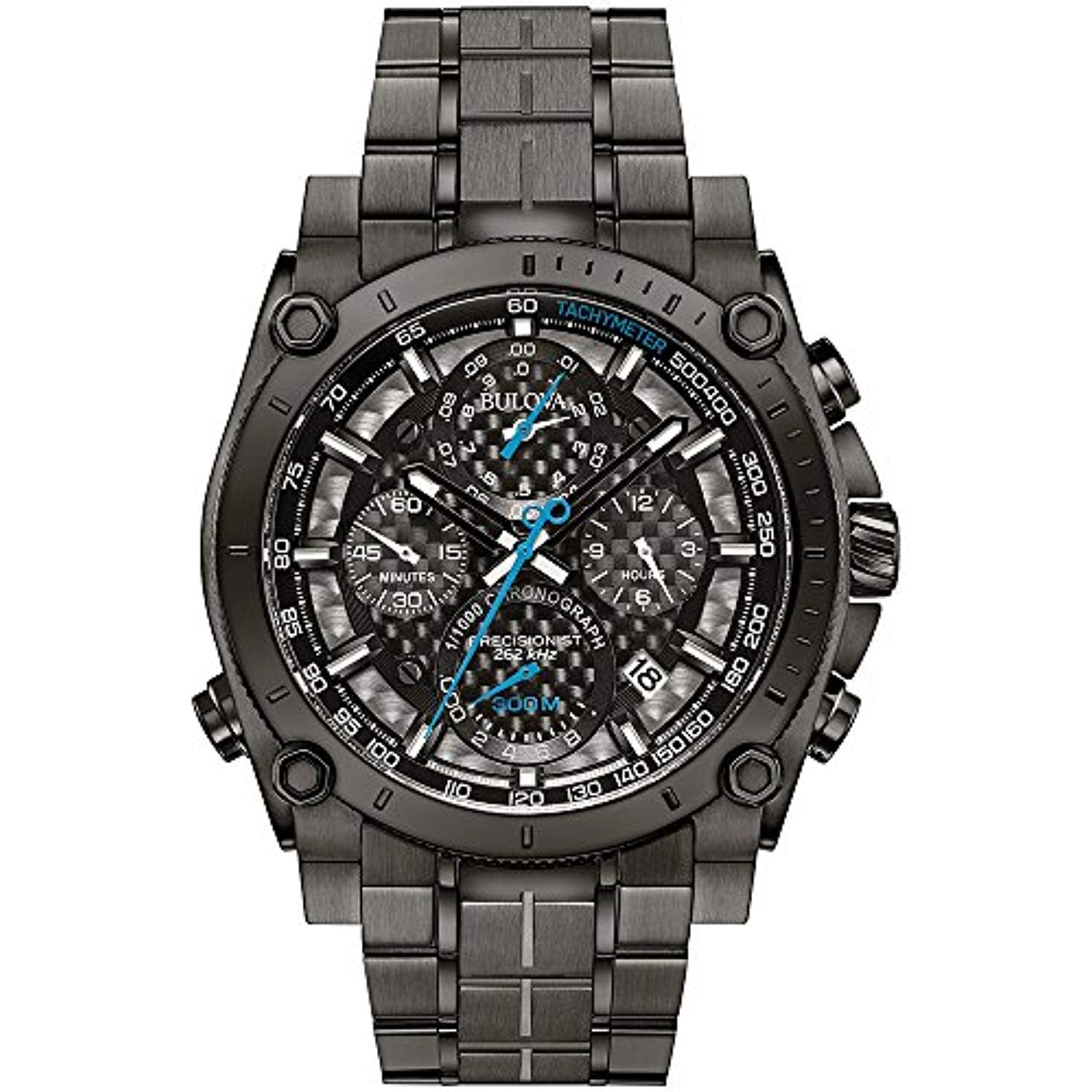Bulova Men's Designer Chronograph Watch Stainless Steel Bracelet - Grey W/Blue Hands Precisionist Wrist Watch 98G229