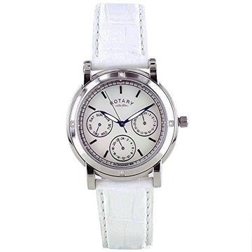 Rotary Rocks RLS002407 Diamond-Set White Leather Strap Watch