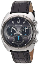 Bulova Men's 'Curv Collection' Quartz Stainless Steel and Leather Casual Watch, Color:Black (Model: 98A155)
