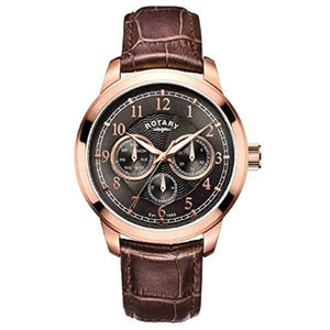 Mens Rotary Brown Rose Gold Analogue Quartz Brown Leather Strap Watch GS00631/20