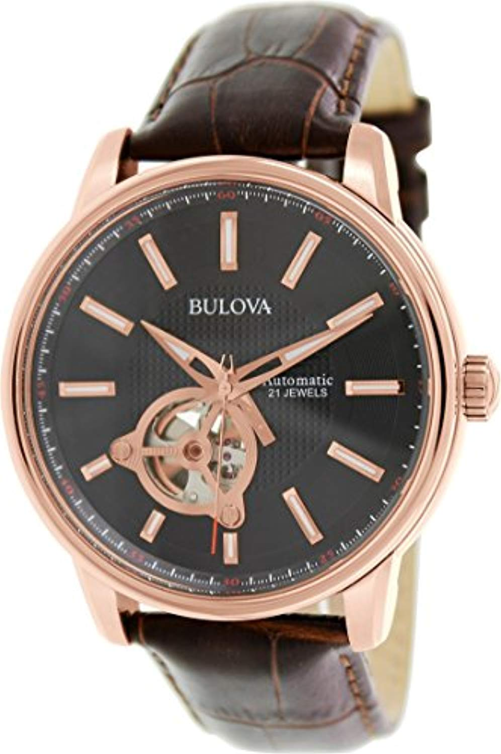 Bulova Watch Men's Classic 45mm Automatic Leather Strap Wristwatch