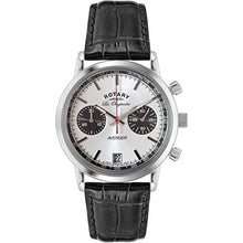 Rotary Men's Quartz Watch with White Dial Chronograph Display and Black Leather Strap GS90130/06