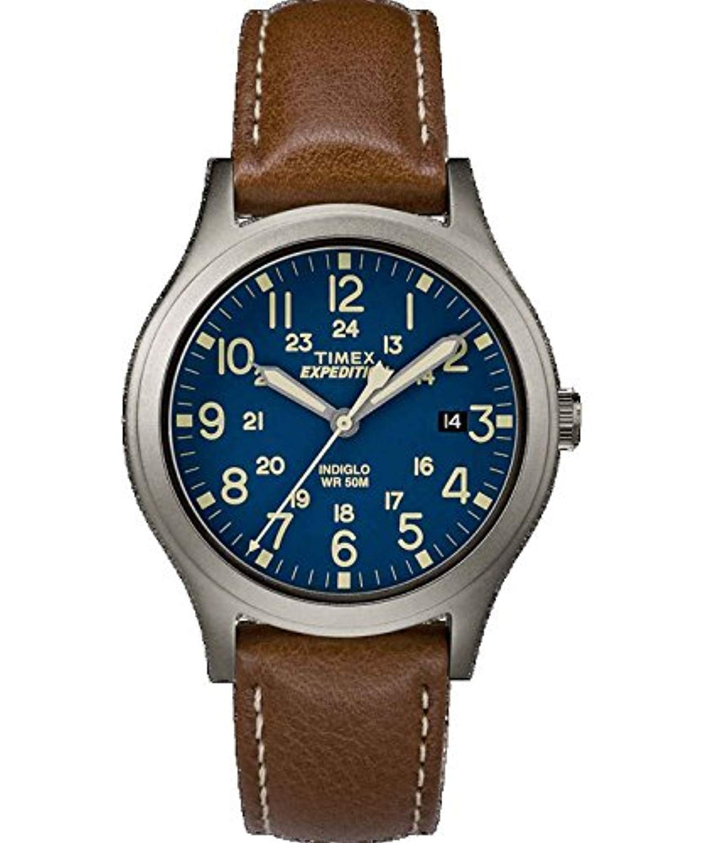 Timex Expedition Mid-Size Leather Watch - Blue Dial